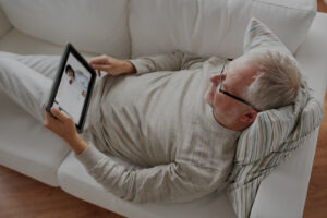 Man reading an ipad